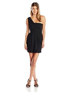 BCBGMAXAZRIA Womens Petite Vanessa OneShoulder Cascade Ruffle Dress Black 0 -- More info could be found at the image url.(This is an Amazon affiliate link)