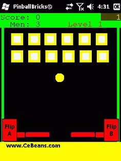 PinballBricks©  The object of this game is to use the side buttons and knock the pinball back and striker the 12 targets before the ball falls past the flippers. You get 10 points for each brick you knock down and 100 bonus and next round when you knock down all ten. Free man every round after five.  http://www.cebeans.com/pinballbricksp.htm