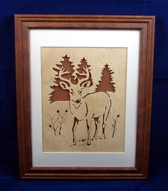 Buck in Field with Pine Trees in Background Handcrafted Birch  | KevsKrafts - Woodworking on ArtFire