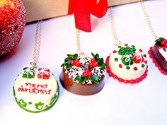 Christmas Cake Polymer Clay Necklaces by Sweetystuff