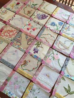 Embroidery Patterns Vintage embroidery quilt in progress by britney Embroidery Designs, Quilting Designs, Vintage Embroidery Patterns, Modern Embroidery, Handkerchief Crafts, Embroidered Quilts, Embroidered Pillowcases, Vintage Quilts, Vintage Linen