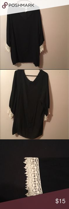 ❤️HP❤️Black 3/4 sleeve tunic w lace on sleeves Description and dimensions on last picture Tops Tunics