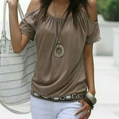 Tonight Only! Cold shoulder short sleeve top Cold shoulder, dark khaki short sleeve top. Cotton blend. Light weight. Perfect for summer outings :) Tops Tees - Short Sleeve