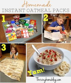 Homemade instant oatmeal packs. Healthy breakfast idea that kids can customize. No more breakfast battles!