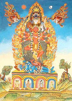 """Guhyakali, que significa literalmente """"a Kali secreta"""", é o aspecto esotérico de Kali, que é conhecido apenas pelos que conhecem bem a tradição de Kali. Na sua forma que se revela quando se medita nela (dhyana), as serpentes constituem uma parte significativa de seus adornos. Seu colar, o cordão sagrado e o cinto são todos feitos de serpentes, e a serpente Ananta com mil cabeças é seu guarda-sol."""