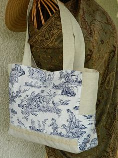 vintage bag - shoulder purse - handmade in France - french vintage blue toile de Jouy fabric - free shipping