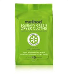 squeaky green dryer cloths  $5.49  plant-derived, softener-infused, anti-static