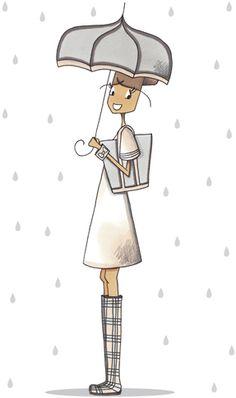 quenalbertini: Marie Bastille, Mad'moiselle C , illustratrice, Umbrella Art, Under My Umbrella, Illustration Girl, Graphic Design Illustration, Bastille, Rain Art, Singing In The Rain, Girl Sketch, Art Sketches