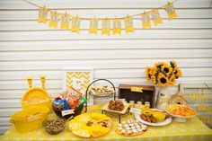 """You are my sunshine"" party theme. Just love yellow."