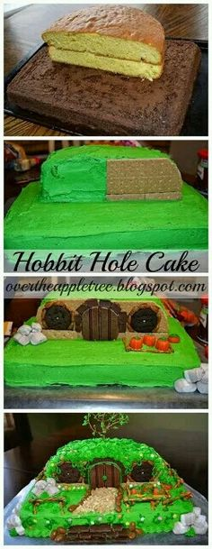 Over The Apple Tree: Hobbit Hole Birthday Cake. This better be my birthday cake in September Hobbit Cake, Hobbit Party, Bolo Cake, Creative Cakes, Let Them Eat Cake, The Hobbit, Cake Designs, Amazing Cakes, Cupcake Cakes