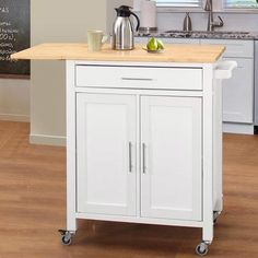 Everyone needs some extra work surface and more storage area. This unit top is crafted from solid wood 20mm finger jointed rubber wood in a natural finish. When extra workspace is needed, just swing the drop leaf up and you have a large work surface. The base is made of MDF and rubber wood in a painted white finish. The great mobility of this unit allows you to roll this unit inside or outside on four industrial-grade locking casters. The large drawer is great for storing all of your kitchen…