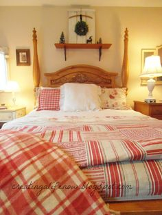 Creating A Life: Warmed Up with Red-Master Bedroom...Would like to find red ticking...different quilt.