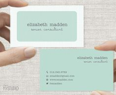 Business Card, Graph Paper Design-Minimal, Printable Custom Digital Download DIY,  Double sided