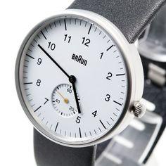 Braun Analogique Blanc Bracelet Cuir Noir BN0024WHBKG