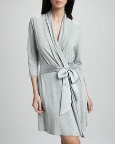 Fleur't - Jersey Robe in Heather Gray. Also available in Black & Aqua