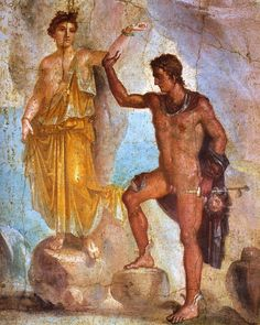 Perseus and Andromeda, fresco from the House of the Dioscuri in Pompeii.    The House of the Dioscuri was not excavated until 1828/29, so despite the similarities, Anton Raphael Mengs had not seen it when he painted his Perseus Frees Andromeda.