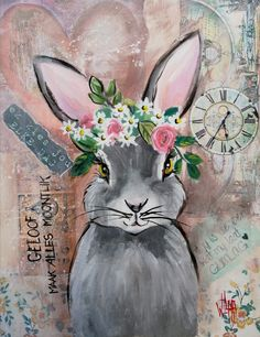 mixed media by Wilma Potgieter Bunny Painting, Spring Painting, Pebble Painting, Easter Paintings, Animal Paintings, Nature Prints, Art Prints, Illustrations, Illustration Art