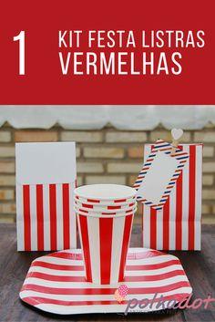 Kit Festas Listras Vermelhas à venda na nossa loja virtual #decoração #listras #vermelhas #festas #circo #vintage #copos #papel #lembrancinhas