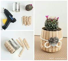 Cute little cactus pot DIY Home Crafts, Diy And Crafts, Crafts For Kids, Popsicle Stick Crafts, Craft Stick Crafts, Craft Sticks, Craft Projects, Projects To Try, Craft Ideas