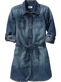 Girls Denim Shirt Dresses
