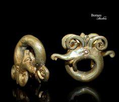 Borneo Earweights Dayak Brass Coil Aso Dragon.Iban Ear Ornament Tribal Longhouse Earstretch,Earplug,Earstud Ethnic Gauge Jewelry by BorneoHunters on Etsy