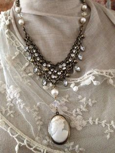 Reserved for Ginger Victorian inspired assemblage component rhinestones, crystal beads, glass faux pearls cameo necklace Cameo Jewelry, Antique Jewelry, Beaded Jewelry, Vintage Jewelry, Jewelry Design, Cameo Necklace, Jewelry Necklaces, Recycled Jewelry, Handmade Jewelry