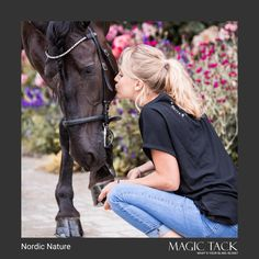Blond equestrian girl loves her black horse. Equestrian girl holding her horses hoove. Stable with colorful flowers. Browband by MagicTack. Equestrian Girls, Equestrian Style, Dressage, European Fashion, Colorful Flowers, Blond, Outfit Of The Day, Fashion Accessories, Horses