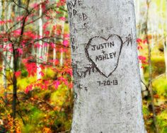 Woodland Personalized Carved Heart Tree You by nameyourwishimages
