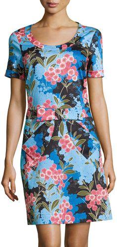 Love Moschino Short-Sleeve Floral-Print Dress, Black/Multi  $299.00 $209.30  #dressesonsale