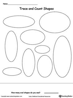 find trace color and count the shapes oval ii tracing shapes shapes worksheets and motor. Black Bedroom Furniture Sets. Home Design Ideas
