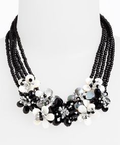 Black and white statement wedding necklace
