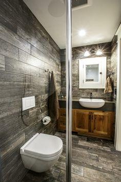 idée de design de salle de bain rustique