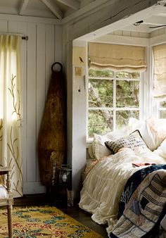 Perfect nook for large window seat or a place to sleep in a small place. Cottage Chic!