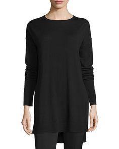 JOSEPH Side-Slit Merino Tunic, Black. #joseph #cloth #