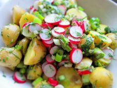 kartoffelsalat, den bedste kartoffelsalat, kartoffelsalat med krydderurter, kartoffelsalat med radiser