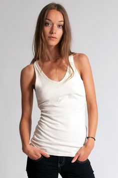 HoodLambs' V Tank - A cute V-Neck Tank Top made from a lightweight hemp/organic cotton blend. A breathable and soft fabric that's also great for sensible skins due to its anti-bacterial and hypo-allergenic properties. A great basic for any wardrobe!