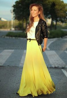 Love the leather jacket with the yellow maxi skirt