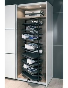 Shoe Cabinet Shoe Rack, Extending and Rotating, for Tall Cabinets - Häfele U. Shop Bow tie – It's Wardrobe Shoe Rack, Wardrobe Storage, Shoe Storage, Storage Spaces, Wardrobe Room, Shoe Rack Pull Out, Diy Shoe Rack, Shoe Racks, Rotating Shoe Rack