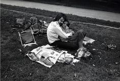 """""""Central Park, Couple with Baby in Newspaper"""" 1978, Paul McDonough"""