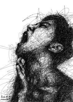 Pencil Portrait, Portrait Art, Scribble Art, Dark Art Drawings, Art N Craft, Pen Art, Photo Instagram, Art Portfolio, Art Sketchbook
