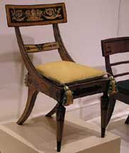 Klismos chair of the American Empire Era Egyptian Furniture, Antique Furniture, Antique Chairs, Painted Furniture, Fancy Chair, Empire Furniture, Ancient Greek Architecture, French Chairs, Empire Style