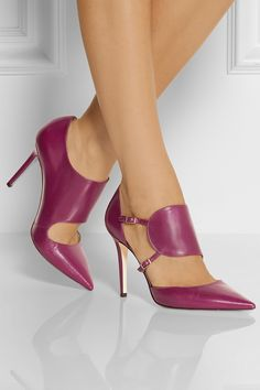 Jimmy Choo | Heath leather pumps | NET-A-PORTER.COM, smooth plum leather, modern take on the classic d' Orsay shoe, wide, asymmetric strap, floating effect