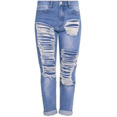 Light Wash Extreme Bum Rip Boyfriend Jean ❤ liked on Polyvore featuring jeans, destructed boyfriend jeans, ripped jeans, blue boyfriend jeans, destroyed jeans and boyfriend jeans