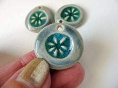Sea Flower Charms Stoneware Clay 3 by TinasBeadMind on Etsy
