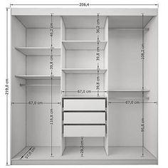 Image result for medidas internas guarda roupa