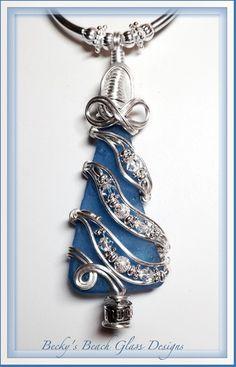 Blue Christmas Tree Sea Glass Necklace, $70.00