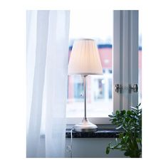 Simple bedroom table lamp  ÅRSTID Table lamp with LED bulb, nickel plated, white