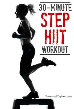 Step HIIT Workout With Weights! The ultimate home workout to burn fat and tone muscle. Step Aerobic Workout, Hiit Workout Videos, Aerobics Workout, Easy Workouts, At Home Workouts, Cardio Workouts, Tabata, Exercise Videos, Workout Plans