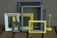 Coloured frames for outside in the garden in the wall - look quirky!:)
