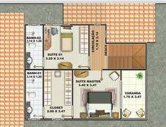 0025 Plano de casa de 154 m2, dos pisos y 3 dormitorios En el segundo piso dos dormitorios en suite con baño particular.
